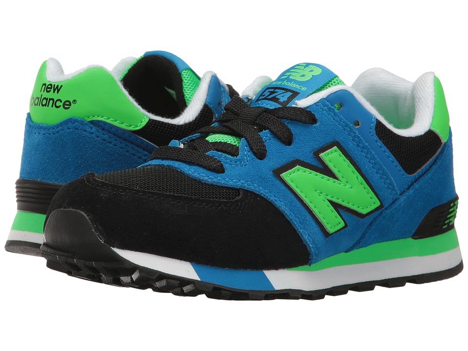 New Balance Kids KL574v1 (Little Kid) (Black/Blue) Boys Shoes