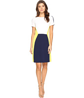 Tahari by ASL - Jewel Neck Short Sleeve Crepe Color Block A-Line