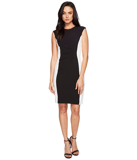 Tahari by ASL Side Ruche Color Block Sleeveless Crepe Sheath
