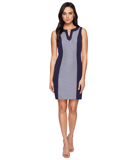Tahari by ASL Jacquard Inset Sleeveless Sheath