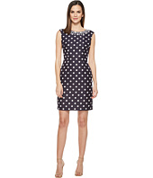 Tahari by ASL - Neck Interest Polka Dot Sheath Dress