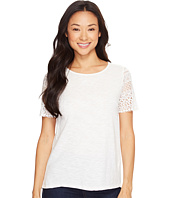 Dylan by True Grit - Slub Knit Tee w/ Sierra Lace Sleeves