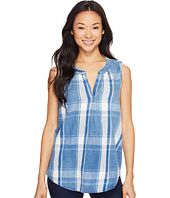 Dylan by True Grit - Indigo Windowpane Plaid Sleeveless High-Low Tunic