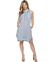 Dylan by True Grit - Stripe Shirt Pintuck Dress with Pockets