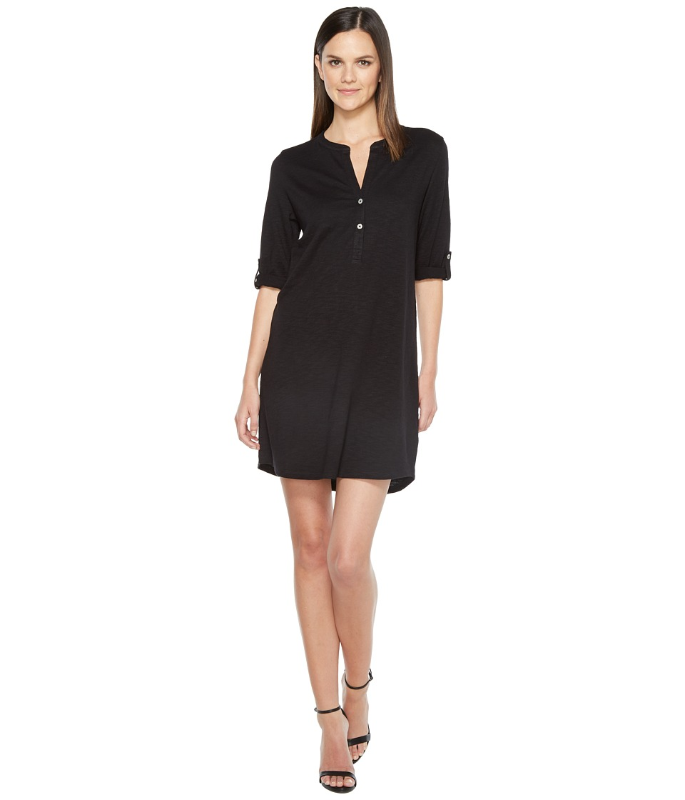 Lilla P Tab Sleeve Henley Dress (Black) Women