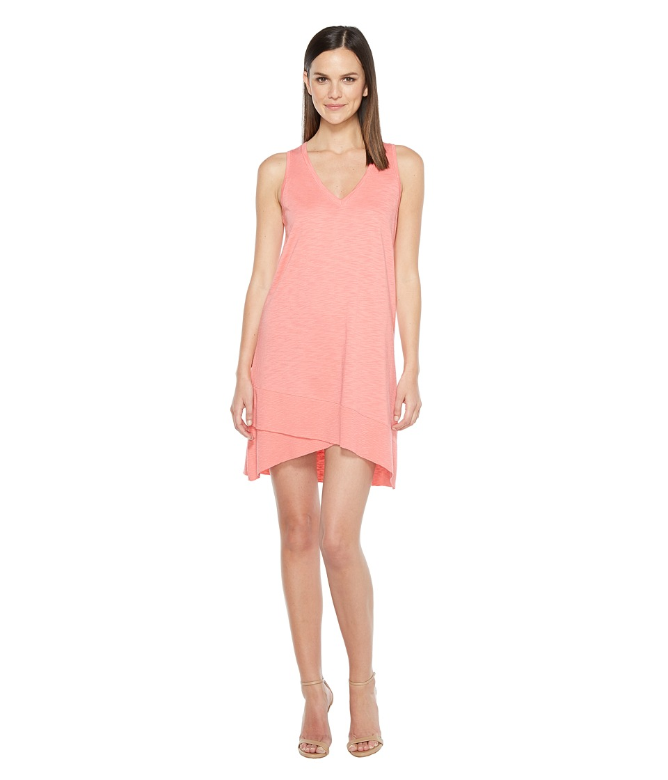 Lilla P V-Neck Rib Trim Dress (Tearose) Women