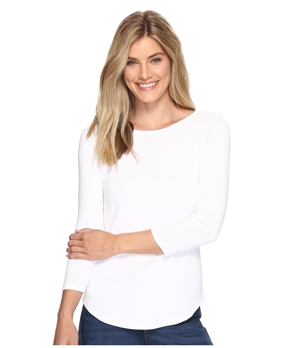Lilla P 3/4 Sleeve Boat Neck (White) Women's Clothing