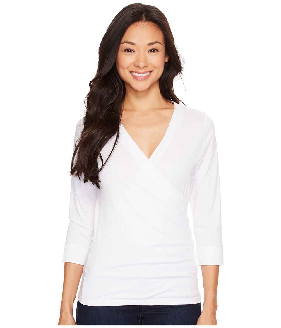 Lilla P - Pima Jersey 3/4 Sleeve Surplice Top (White) Womens Clothing