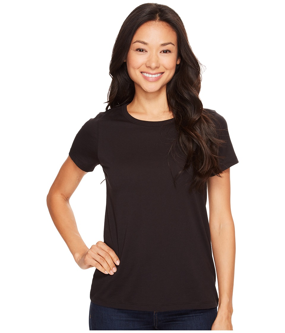 Lilla P - Pima Jersey Short Sleeve Jewel Neck Top (Black) Womens Clothing