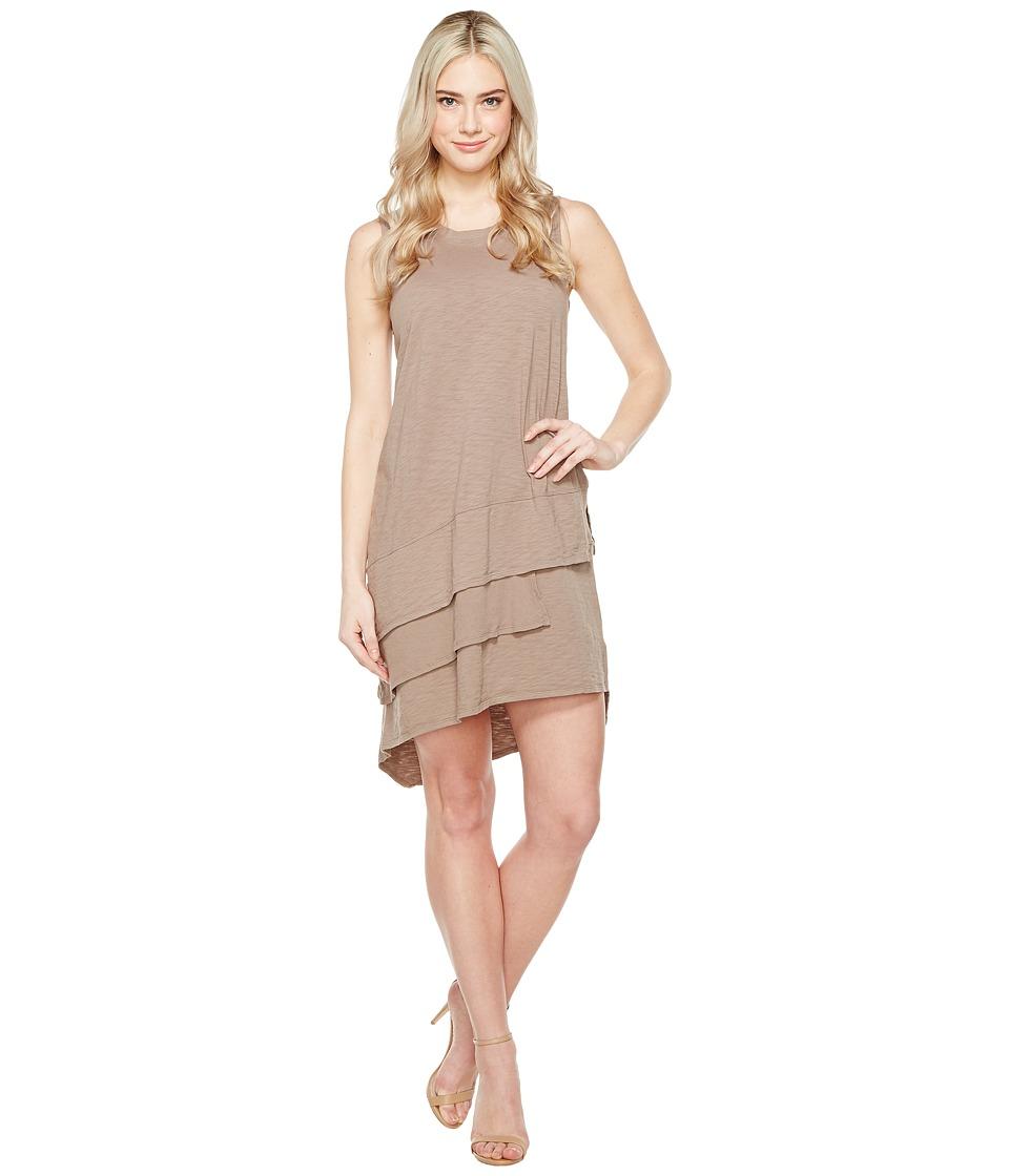 Dylan by True Grit Luxe Cotton Slub Three Tiers Tank Dress (Gravel) Women