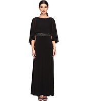 Sangria - Sleeveless Chiffon Gown with Sheer Cape Overlay