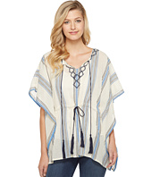 Vince Camuto - Embroidered Towel Stripe Tassel Poncho