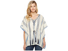 Vince Camuto Embroidered Towel Stripe Tassel Poncho