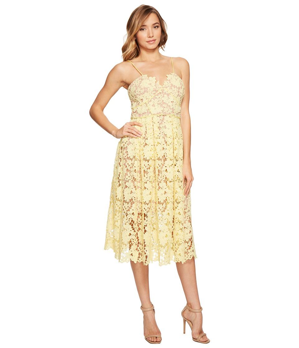 Donna Morgan Chemical Lace Spaghetti Strap Midi (Blossom Yellow) Women