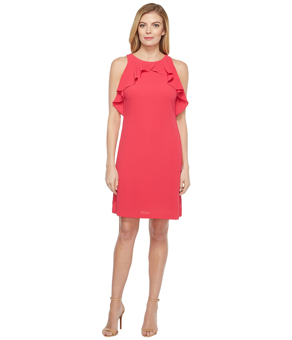Jessica Simpson - Solid Dress with Ruffle Neck (Rose) Womens Dress