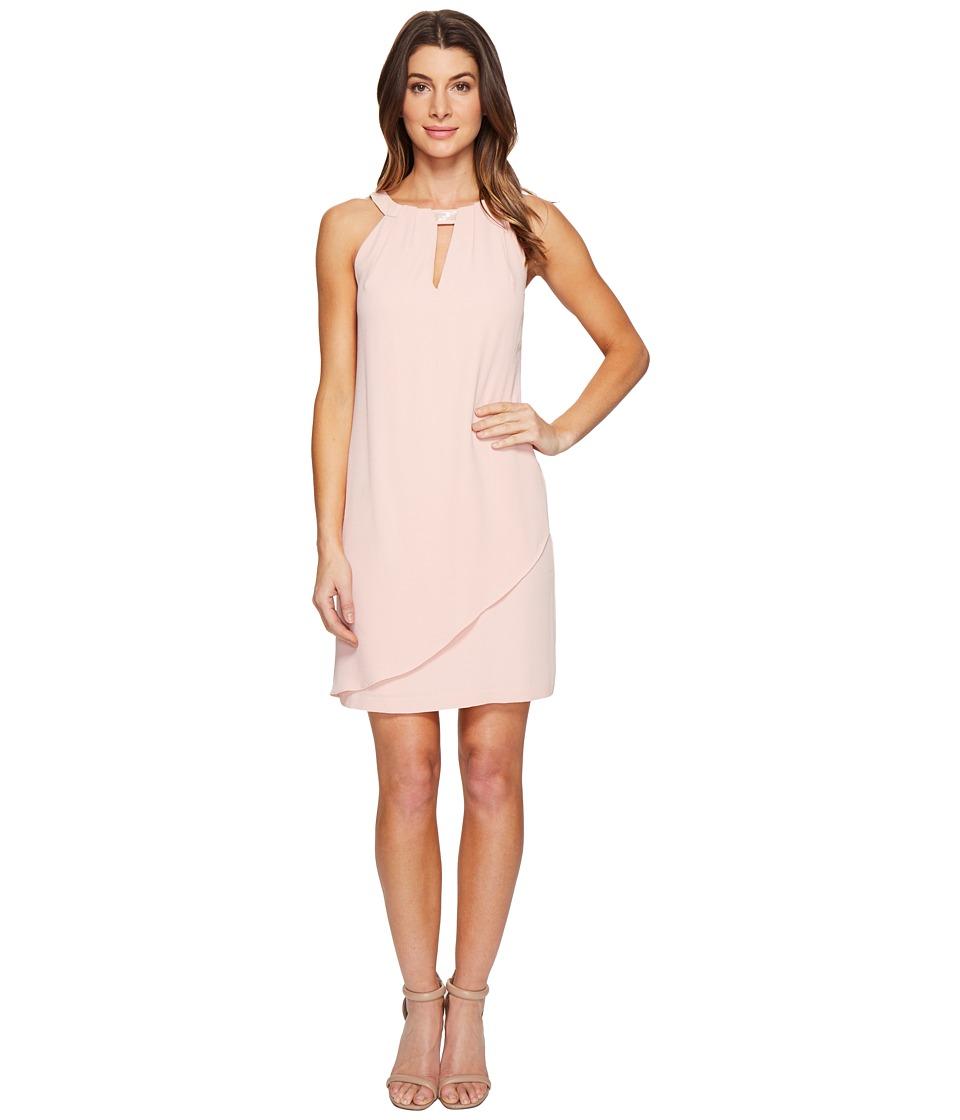 Jessica Simpson Drape Front Dress with Beaded Neck (Blush) Women