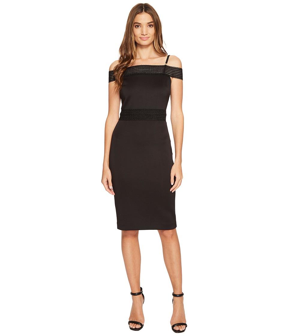 Jessica Simpson Scuba Off the Shoulder Midi Dress (Black) Women