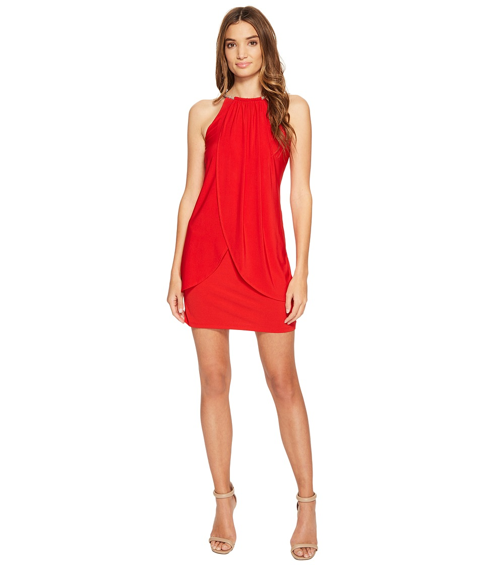 Jessica Simpson Ity Dress with Embellished Halter Necklace (Poppy) Women