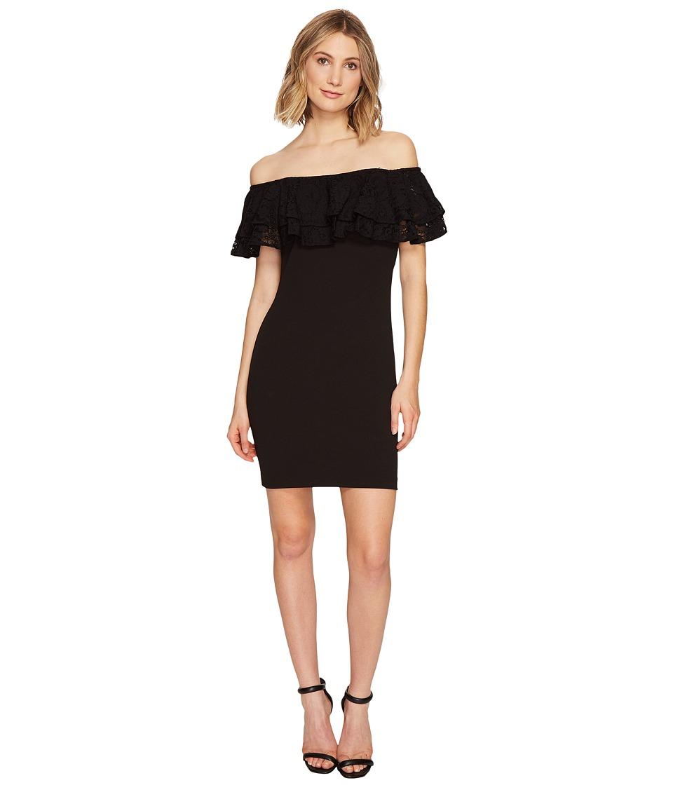 Jessica Simpson - Solid Scuba Ruffle Off the Shoulder Dress (Black) Womens Dress