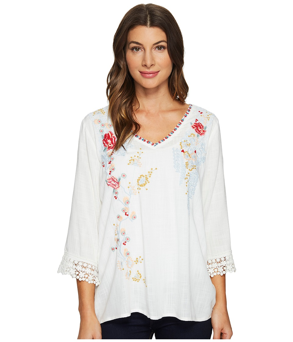 Dylan by True Grit - Beach Blossom Embroidered Blouse w/ Crochet