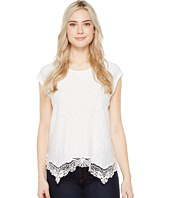 Dylan by True Grit - Soft Slub Cotton Crochet Hem Tee