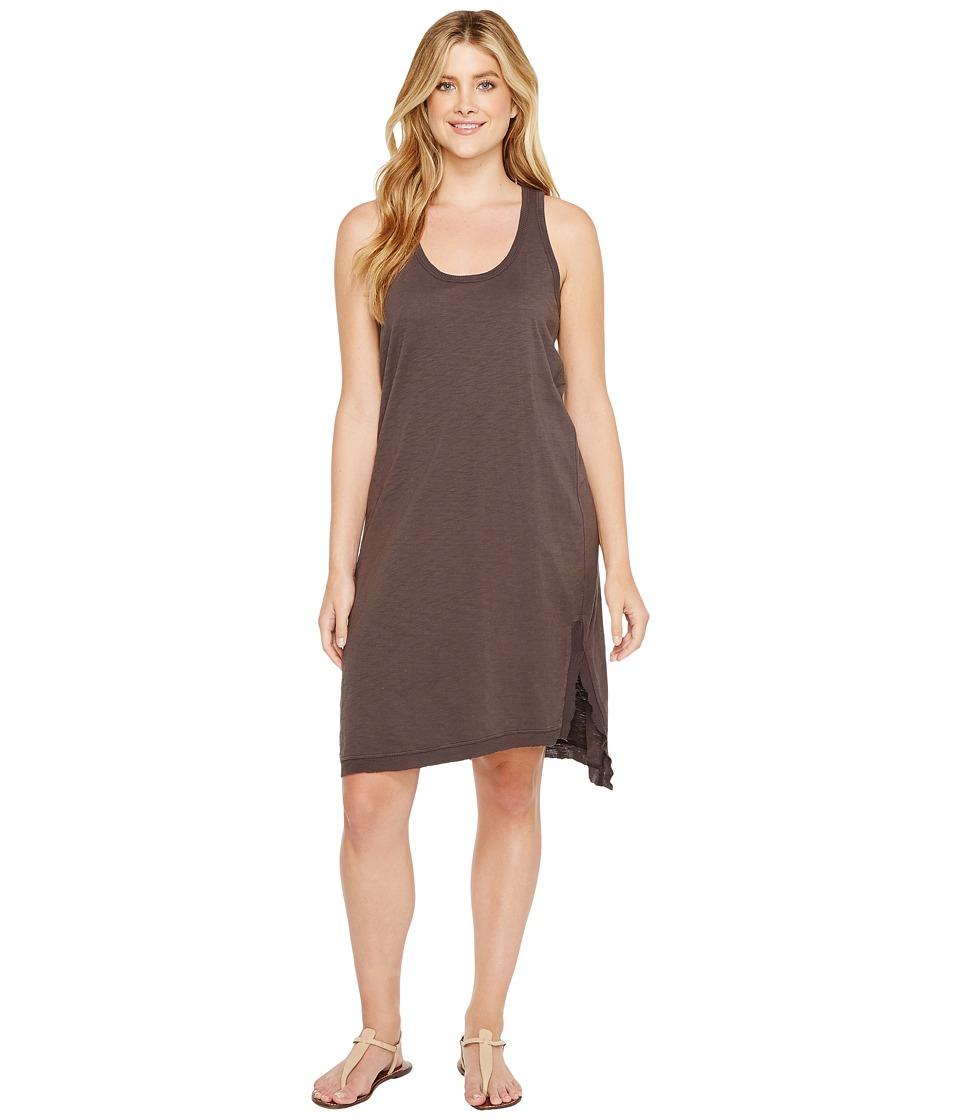 Dylan by True Grit Luxe Cotton Slub Asymmetrical Slit Dress (Carbon) Women
