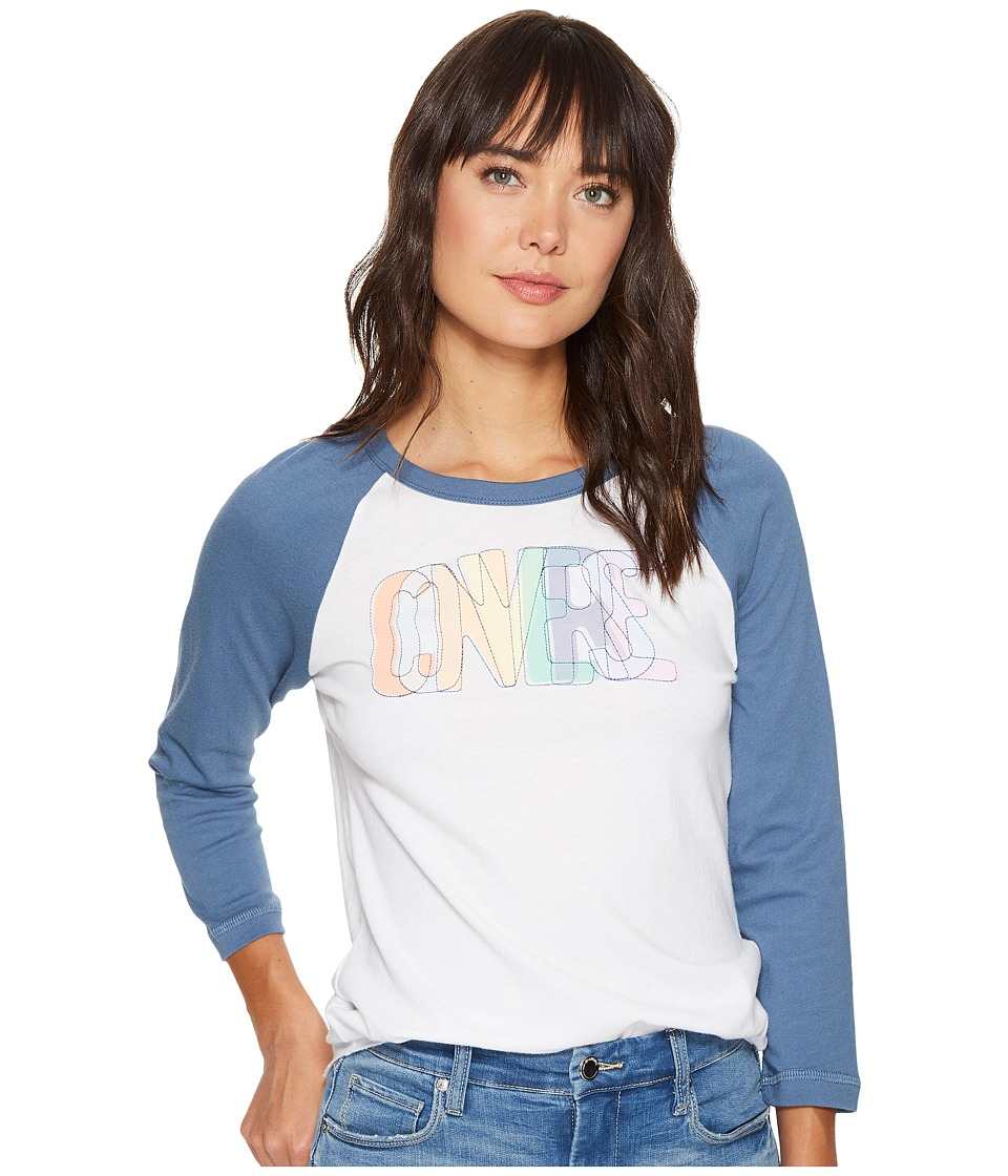 Converse Overlapped Embroidered Raglan Tee (Optical White) Women