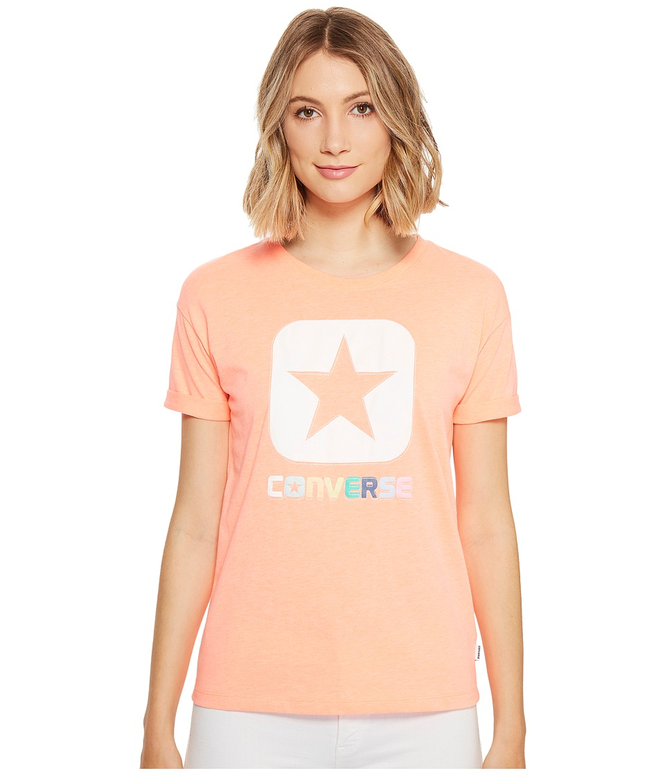 Converse Embroidered Box Star Easy Crew Tee (Light Orange) Women