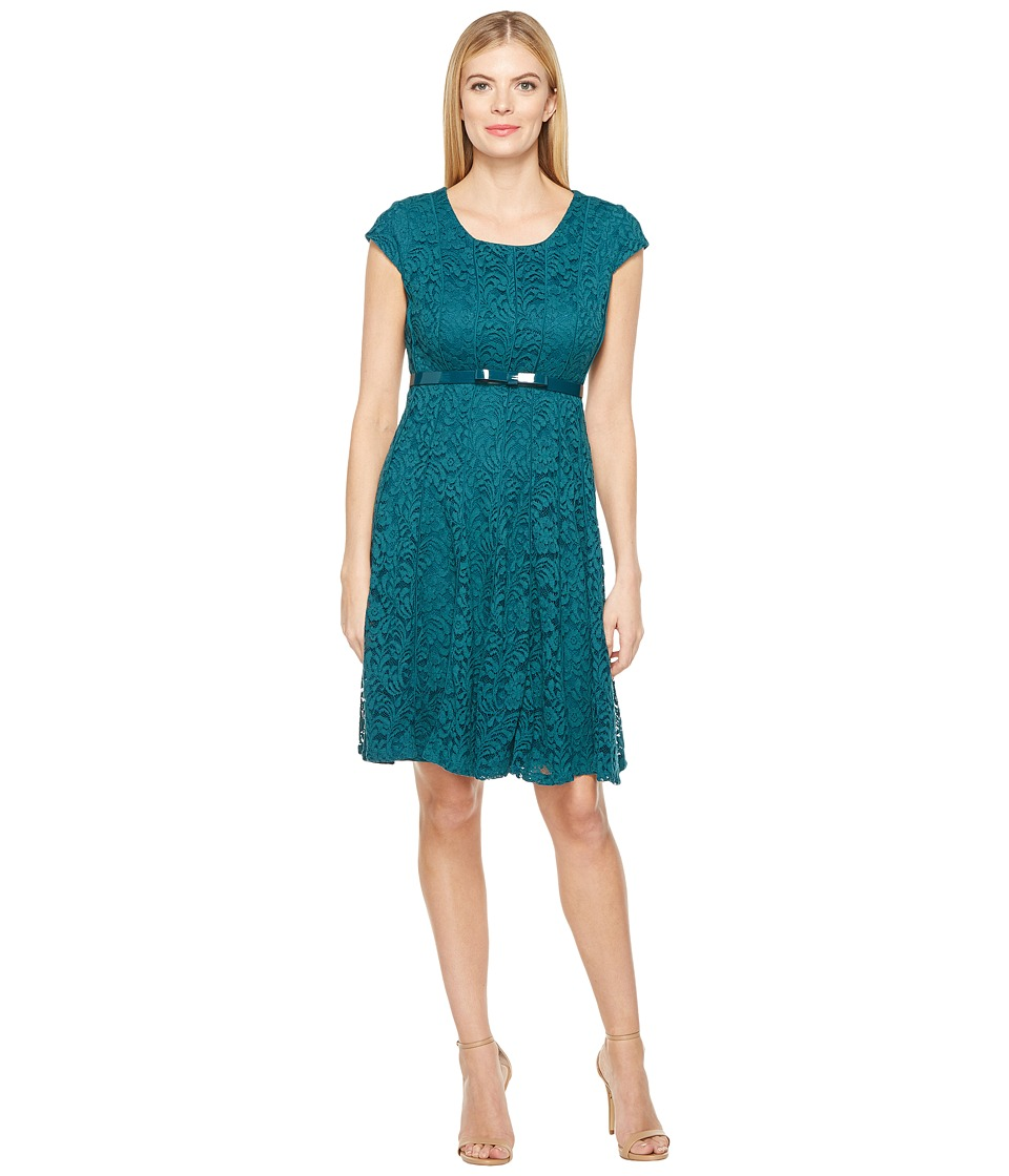 Christin Michaels Collins Paneled Fit and Flare (Emerald) Women
