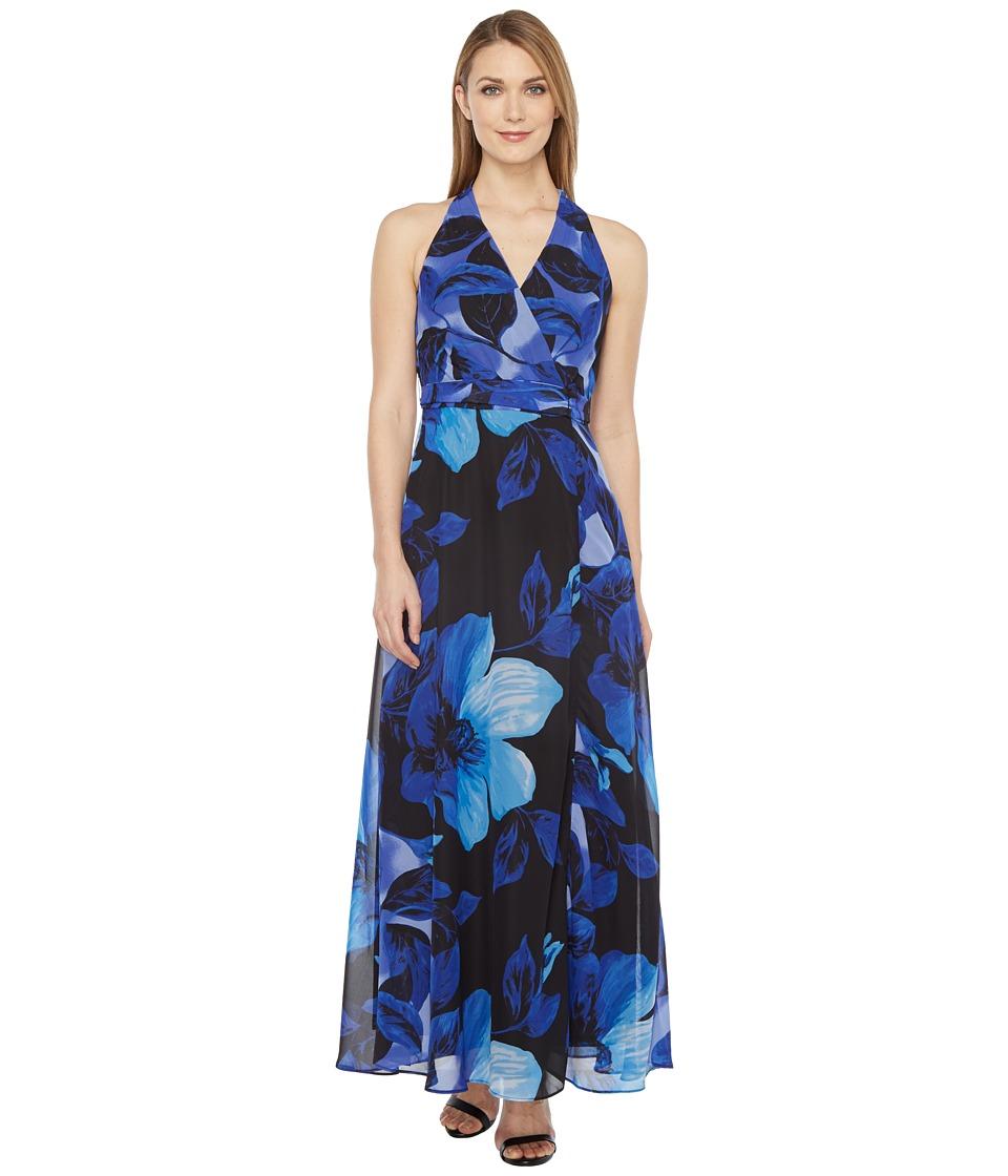 Christin Michaels Braeburn Chiffon Maxi Dress (Black/Marine) Women
