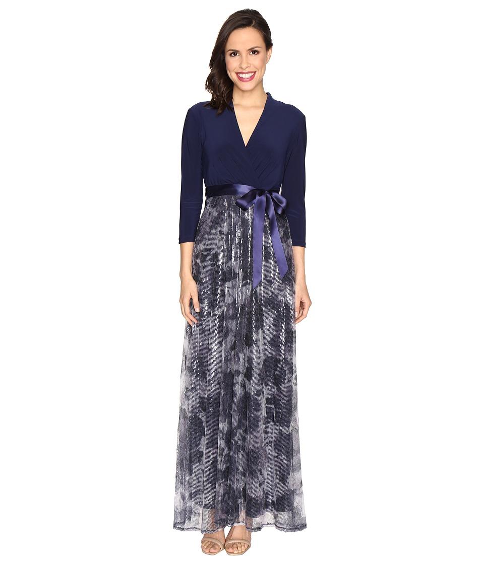 Christin Michaels Anna Sequin Maxi Dress (Navy/Ivory) Women