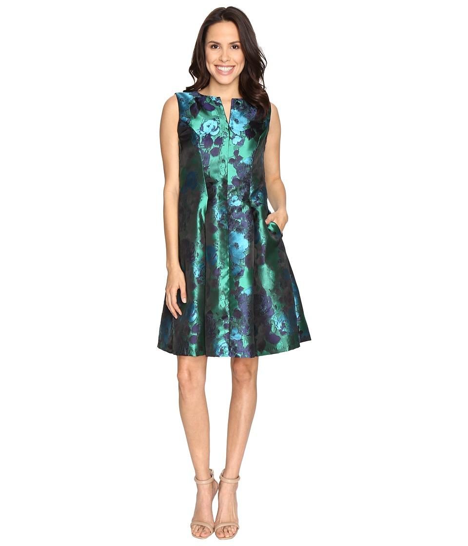 Christin Michaels Aurora Brocade Panel Dress (Navy/Green) Women