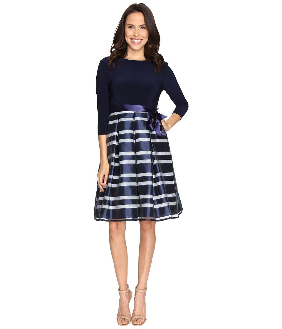 Christin Michaels Bailey Sweet Organza Party Dress (Navy/Ivory) Women