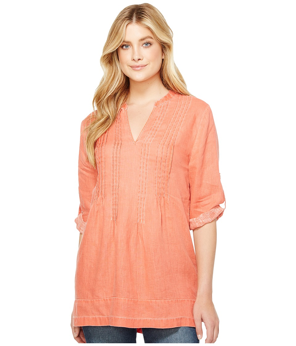 Dylan by True Grit Pintuck Washed Linen Tunic (Soft Red) Women