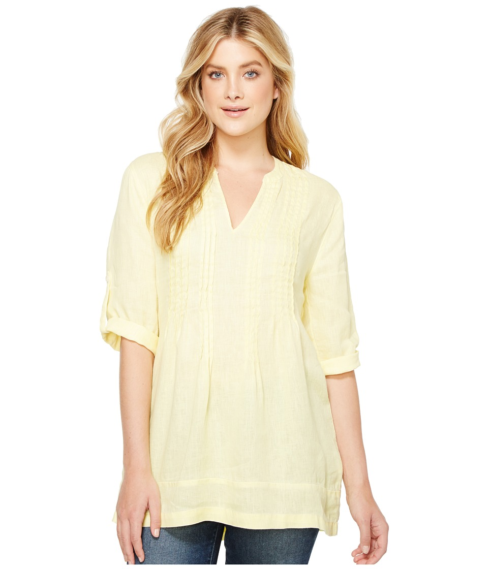 Dylan by True Grit Pintuck Washed Linen Tunic (Soft Yellow) Women