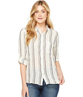 Dylan by True Grit - Havana Stripe One-Pocket Roll Sleeve Shirt