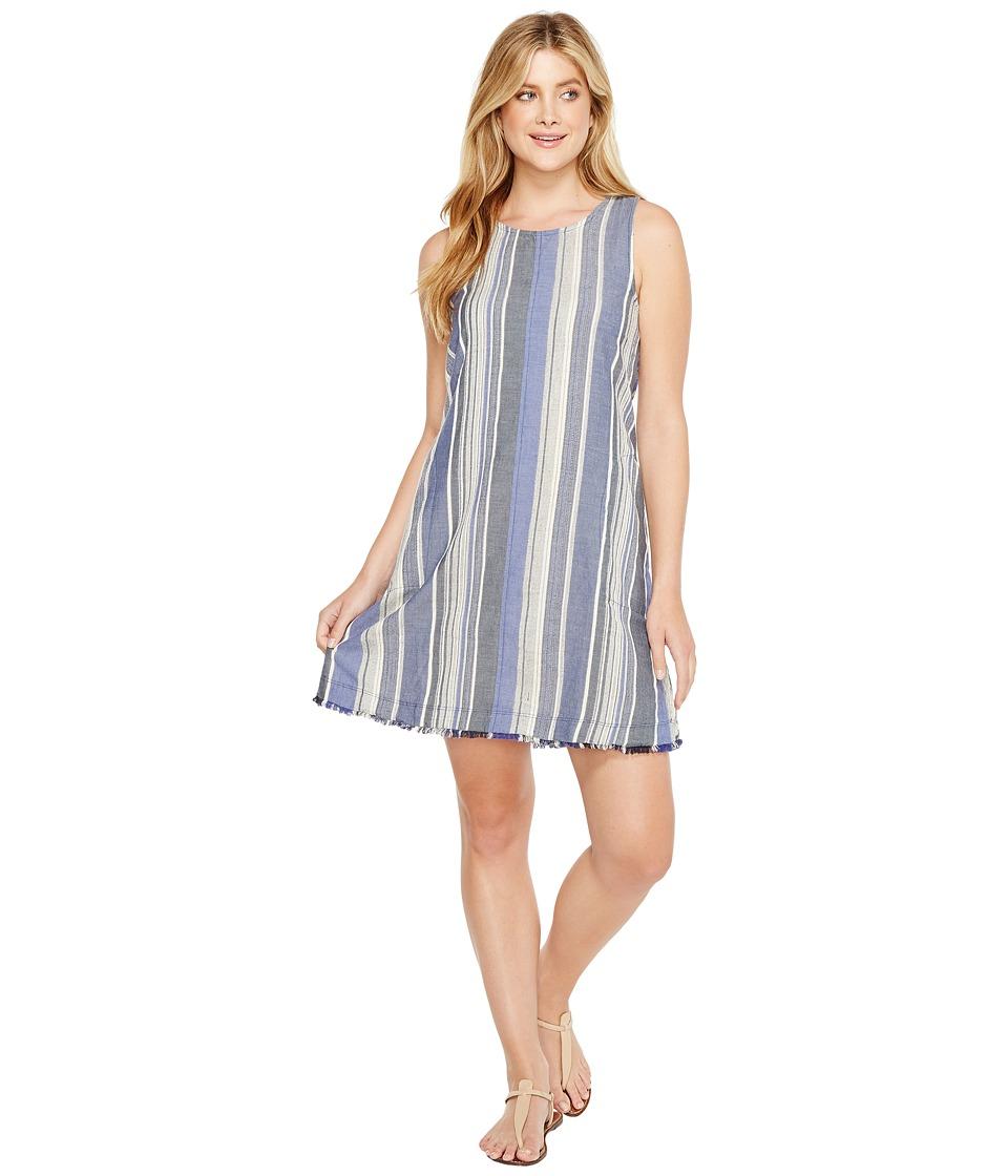 Dylan by True Grit - Nautical Indigo Stripes Fringe A-Line Dress