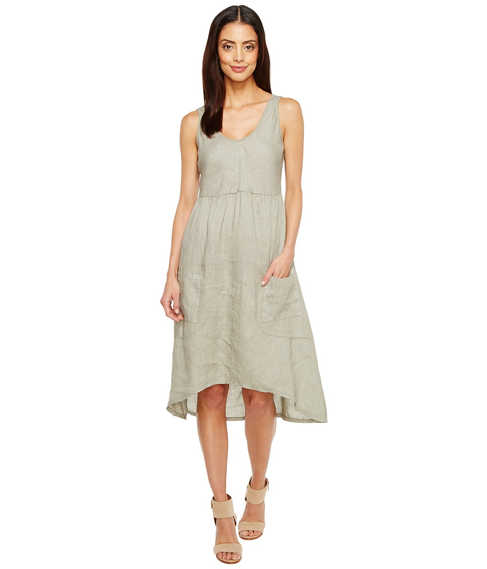 Dylan by True Grit Luxe Linen Tank Dress w/ Pockets and Rib Knit (Gravel) Women