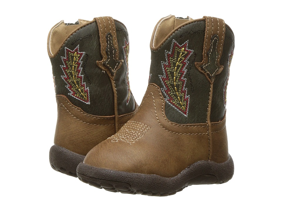 Roper Kids Arrowheads (Infant/Toddler) (Brown Faux Leather Vanp Green Shaft) Cowboy Boots