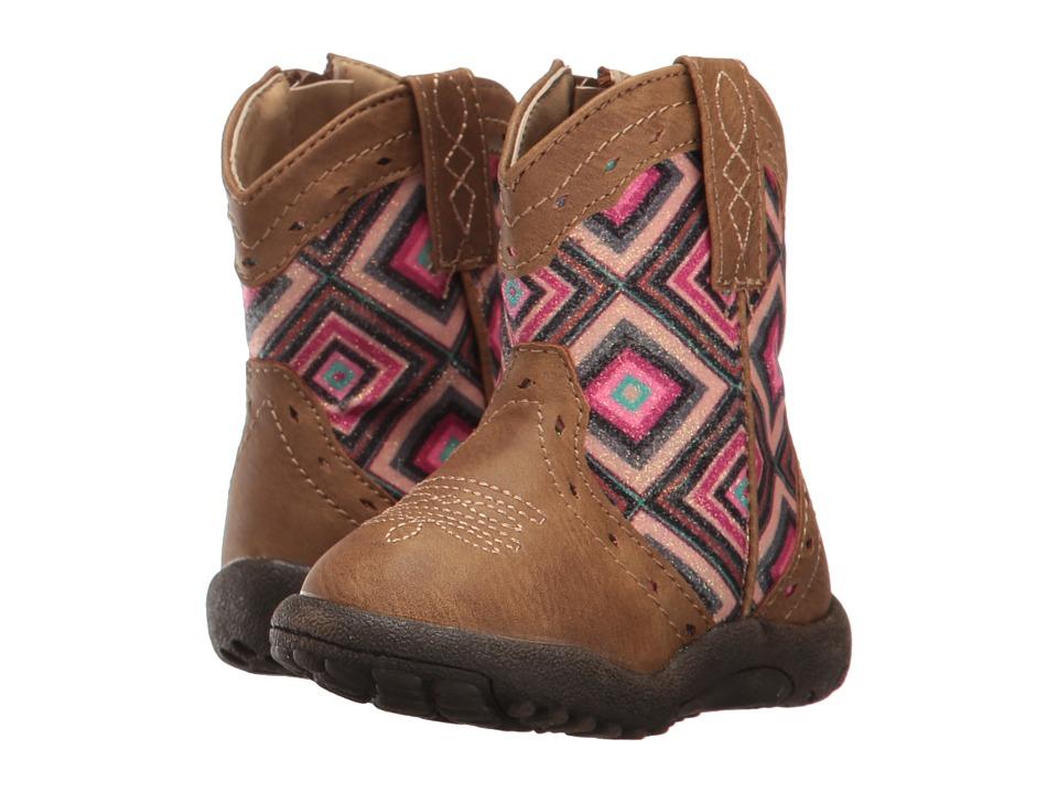 Roper Kids Glitter Geo (Infant/Toddler) (Brown Faux Leather Vamp Glitter Shaft) Cowboy Boots
