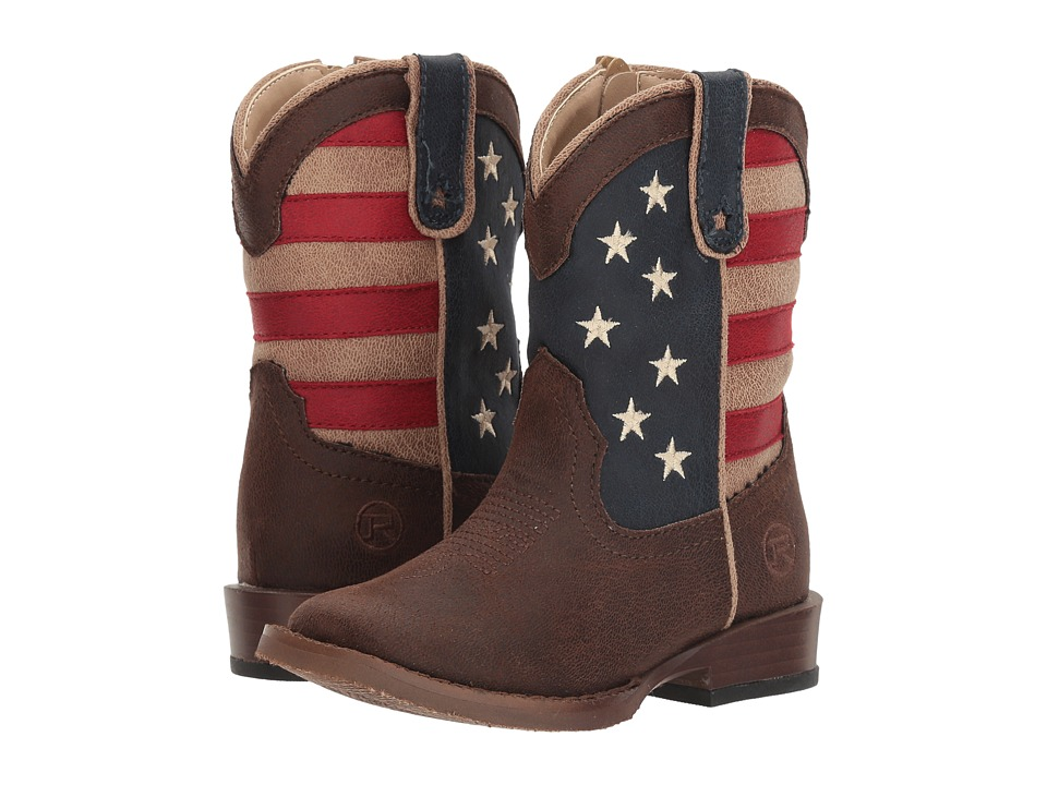 Roper Kids American Patriot (Toddler) (Brown Faux Leather Vamp Stars + Stripes Shaft) Cowboy Boots