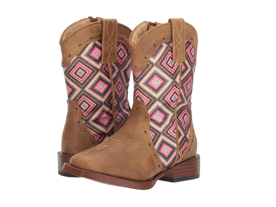 Roper Kids Glitter Geo (Toddler) (Brown Faux Leather Vamp Glitter Shaft) Cowboy Boots
