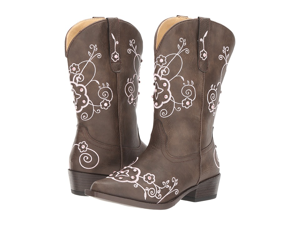 Roper Kids Flower Sparkles (Toddler/Little Kid) (Brown Faux Leather Vamp + Shaft) Cowboy Boots