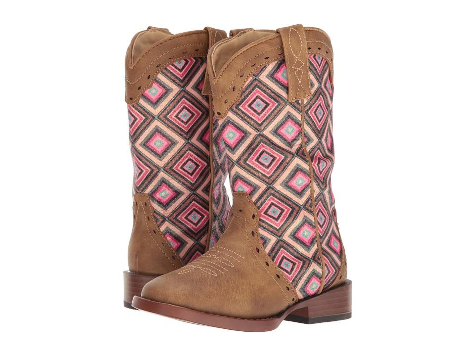 Roper Kids Glitter Geo (Toddler/Little Kid) (Brown Faux Leather Vamp Glittler Shaft) Cowboy Boots