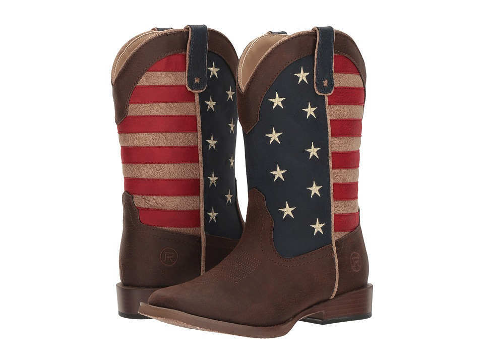Roper Kids American Patriot (Toddler/Little Kid) (Faux Leather Vamp Stars + Stripes Shaft) Cowboy Boots