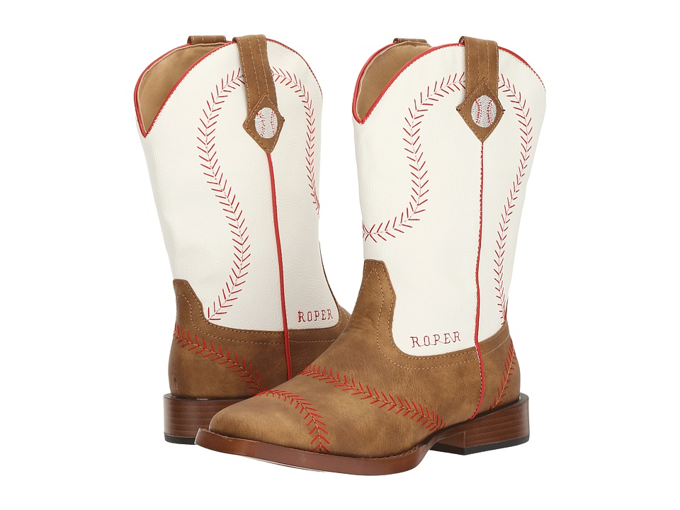Roper Kids Baseball (Big Kid) (Brown Faux Leather Vamp White Shaft) Cowboy Boots