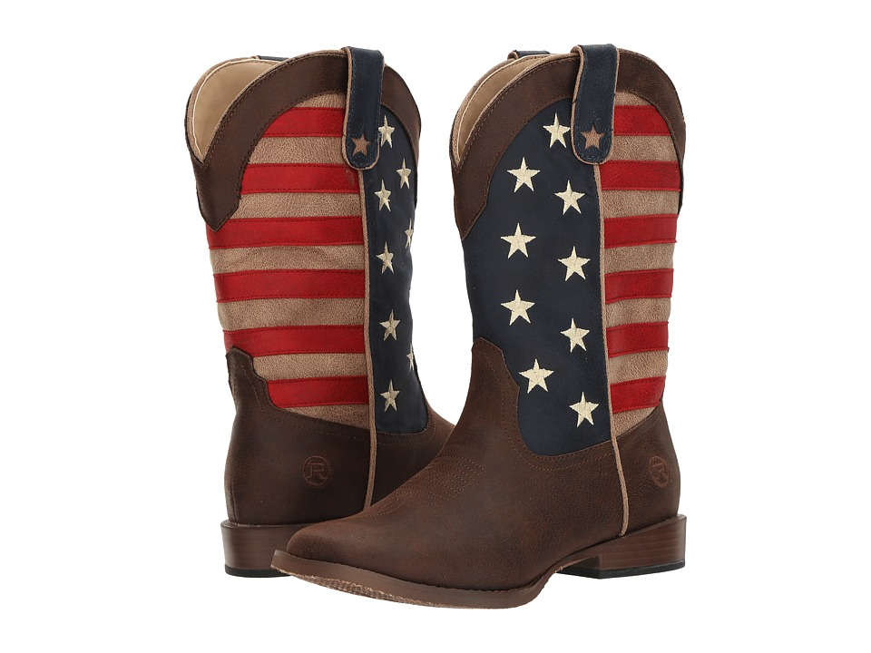 Roper Kids American Patriot (Big Kid) (Brown Faux Leather Vamp Stars + Stripes Shaft) Cowboy Boots