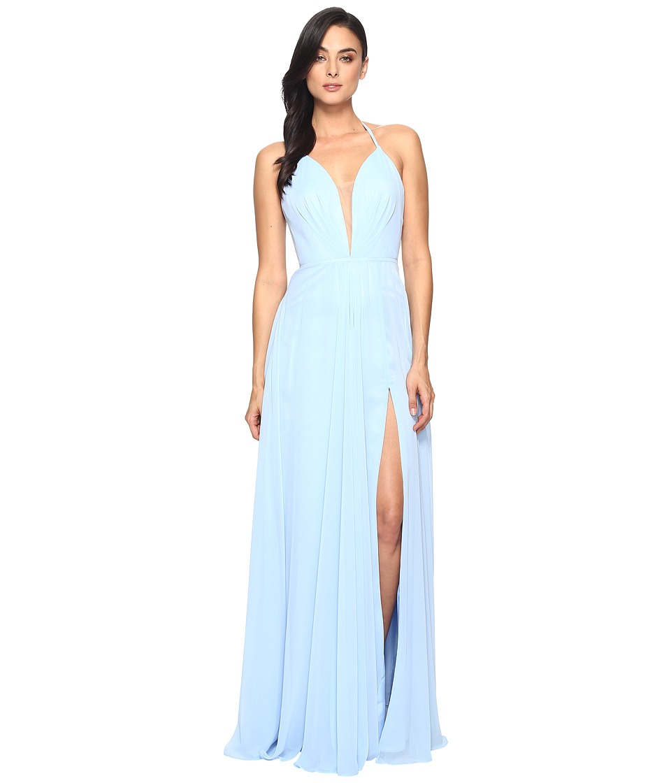 Faviana Chiffon V-Neck Gown w/ Full Skirt 7747 (Cloud Blu...