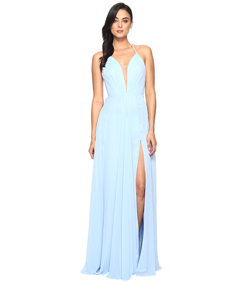 Faviana Chiffon V-Neck Gown w/ Full Skirt 7747 - Cloud Blue