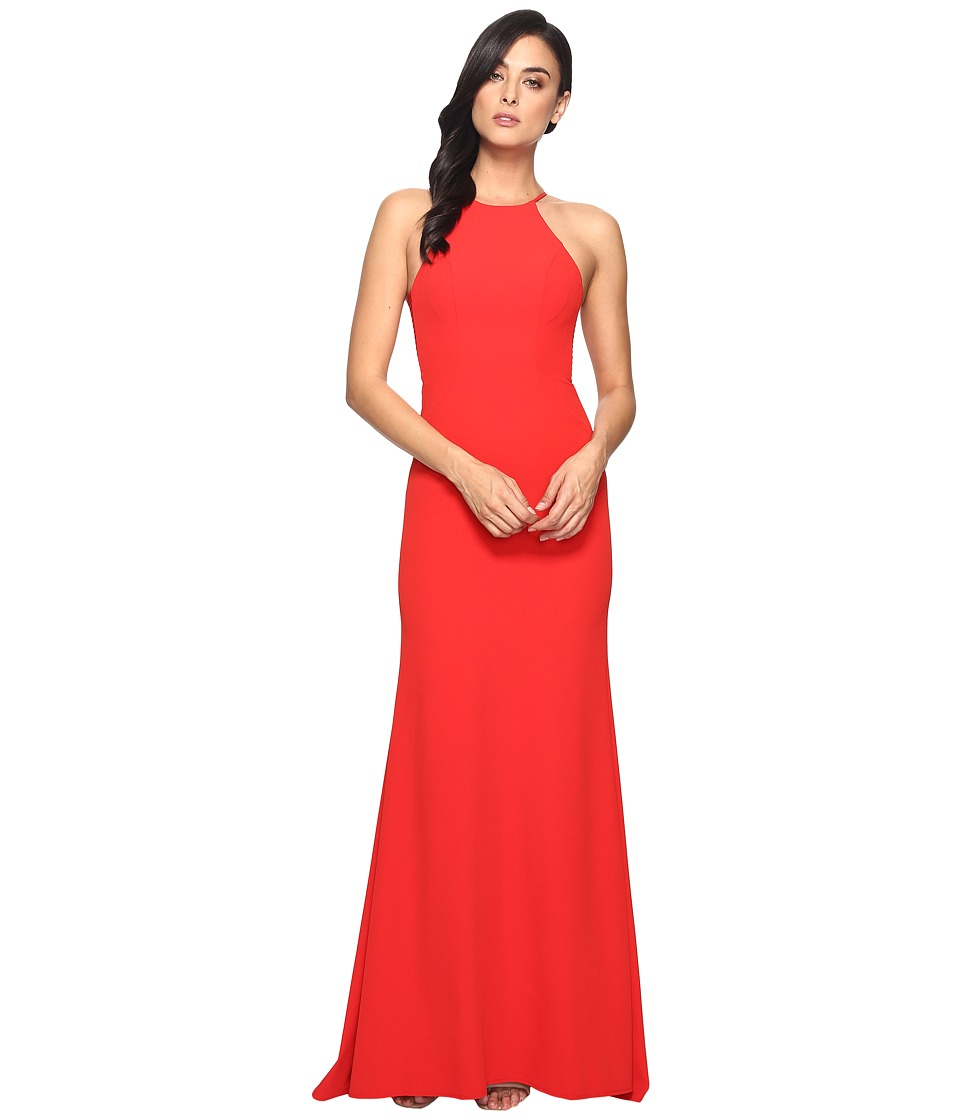 Faviana Crepe Halter w/ Strap Sides S7913 (Red) Women's D...